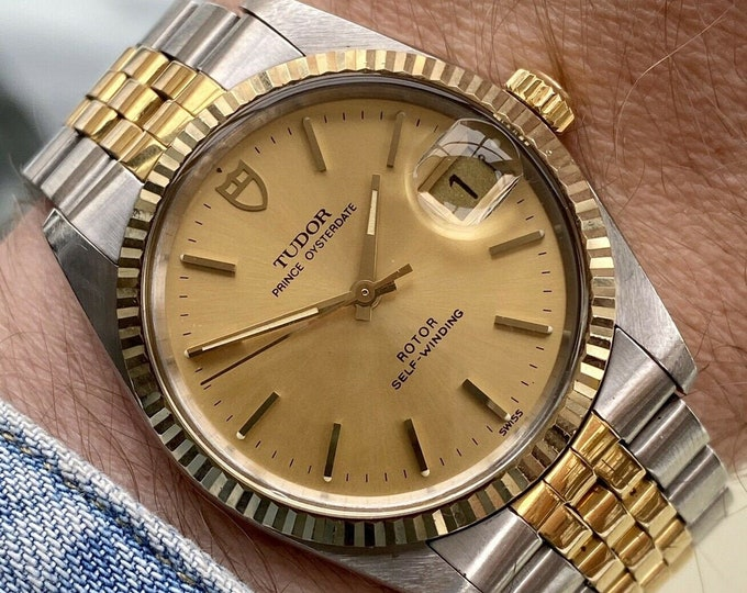 Tudor Two Tone Gold Steel Prince Oysterdate vintage Mens Rolex papers 1991 semi vintage watch