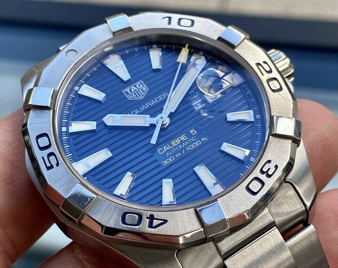 TAG Heuer Aquaracer Caliber 5 Steel Automatic Blue Dial Men's Full Set Watch Papers Card Box