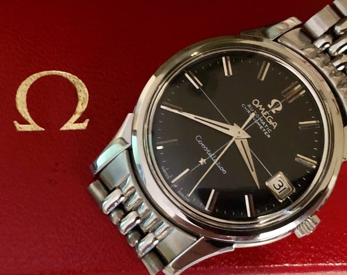 Omega Constellation black dial crosshair vintage watch cal 565 rice bracelet Stainless Steel Date 1960s used second hand wristwatch + Box