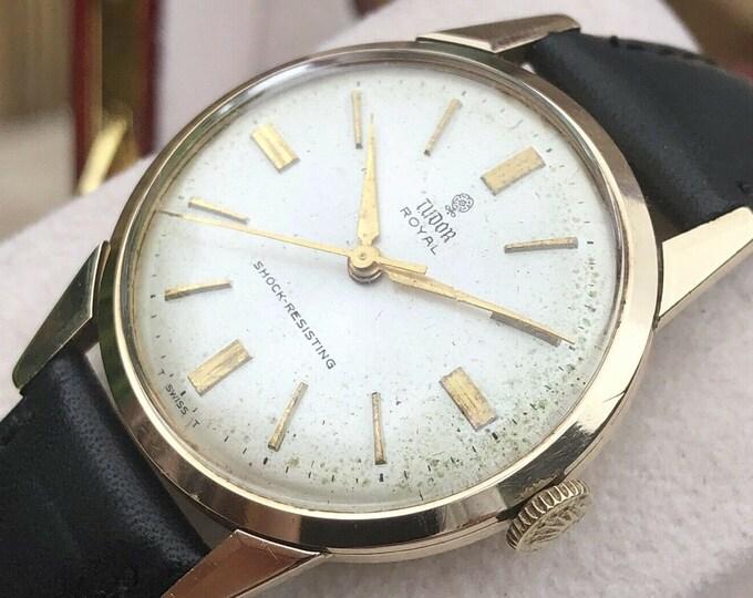 Tudor Royal Rolex Mechanical vintage 9K Solid Gold Mens 1965 watch + New Box