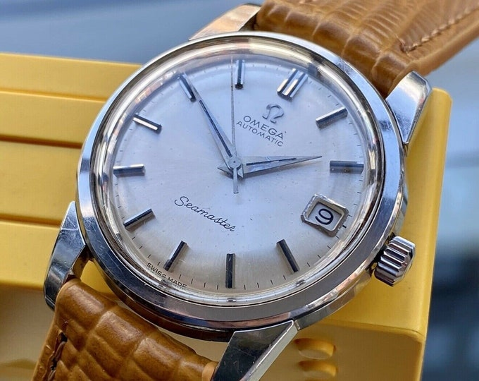 Omega Seamaster Stainless Steel Mens 1960s 34mm size Vintage watch used with new tan brown leather strap