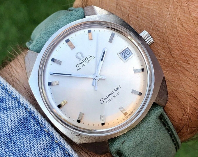 Omega Seamaster Cosmic Automatic Date Green Strap vintage mens 1967 watch + Box