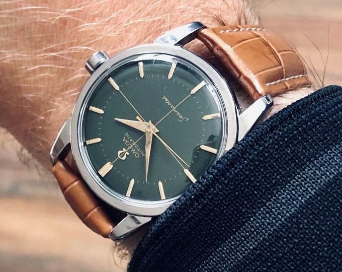 Omega Seamaster Green Dial face Steel Mens Vintage 1954 watch in stunning condition + Service card + Box