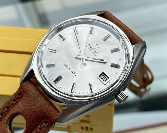 Omega Seamaster Beefy Lug 1973 Steel Leather Mens Vintage Automatic Swiss serviced July 2021 watch + Box