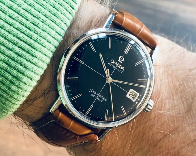 Omega Mens Black Dial Crosshair Seamaster De Ville vintage 1963 Cal 562 Date Display Automatic leather strap + Box Don Draper Mad Men
