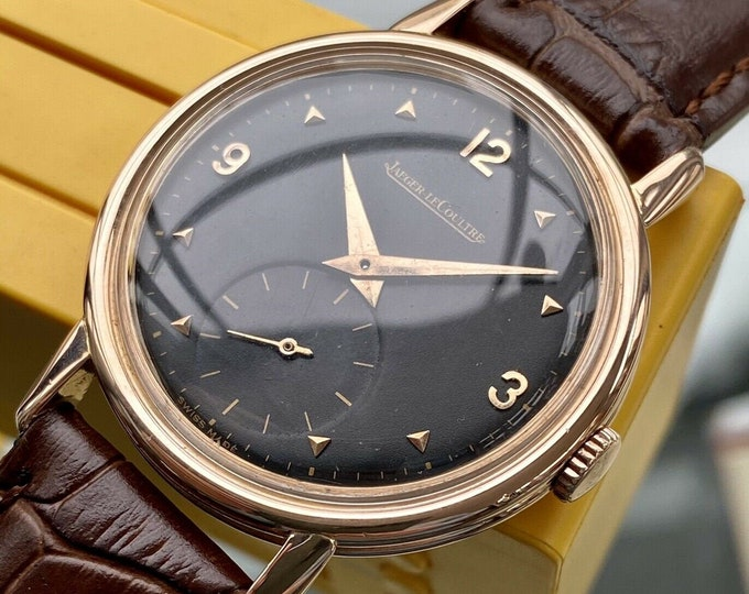Jaeger Lecoultre JLC Men Gold Solid 18K 750 Rose Gold vintage sub seconds watch