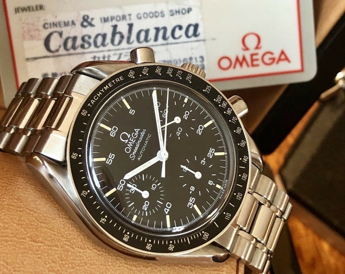Omega Speedmaster Black Dial Men's reduced Automatic watch card leather warranty + New Box