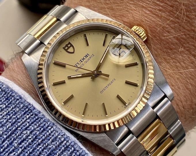Tudor Two Tone Prince Quartz Oysterdate 84133 Men Rolex Gold Vintage 1990 watch + Papers