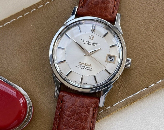 Omega Constellation 1011 Pie Pan 1973 Leather Vintage Mens Automatic New Leather watch + Travel Pouch case