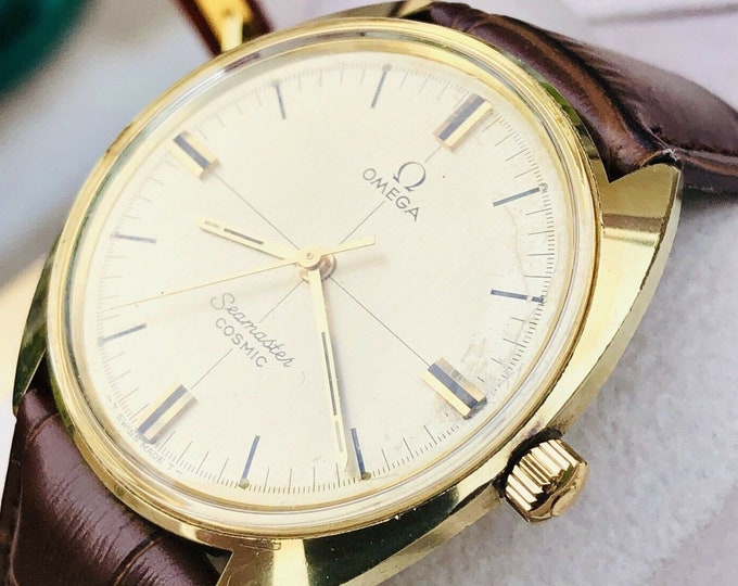 Omega Seamaster Cosmic 1966 old used vintage champagne dial Mechanical Calibre 601 mens gold plated watch + box