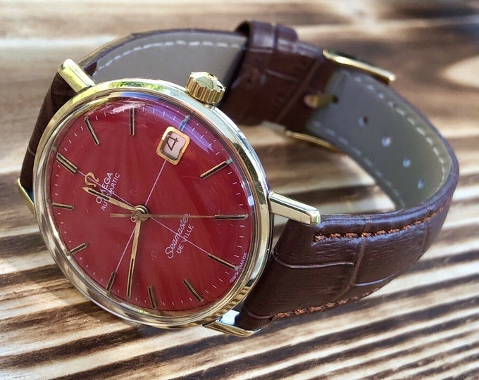 OMEGA Seamaster De Ville Mens vintage 1966 Red Dial automatic watch gold steel + Box