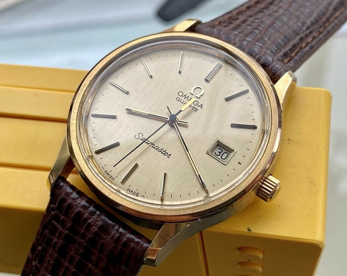 Omega Seamaster 1977 vintage Gold Plated Quartz Leather Mens watch Rare Box Caliber 1342 Date Gold Plated Wristwatch