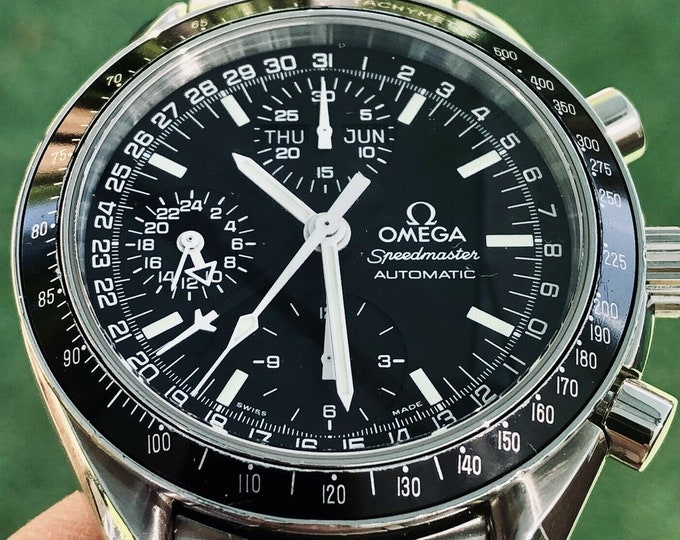 Omega Speedmaster Automatic Reduced Chronograph Stainless Steel bracelet Cal 1151 Men's Automatic Mark 40 M40 Date Black Dial Face + Red Box