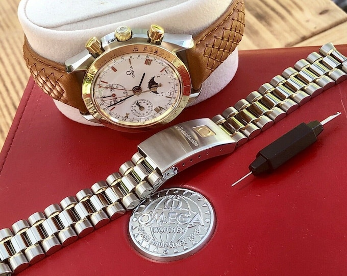 Omega 1990 Speedmaster Gold Classic 175.0034 Men's reduced Automatic 18K Gold & Stainless Steel bracelet Moon Stars watch + Red Omega Box