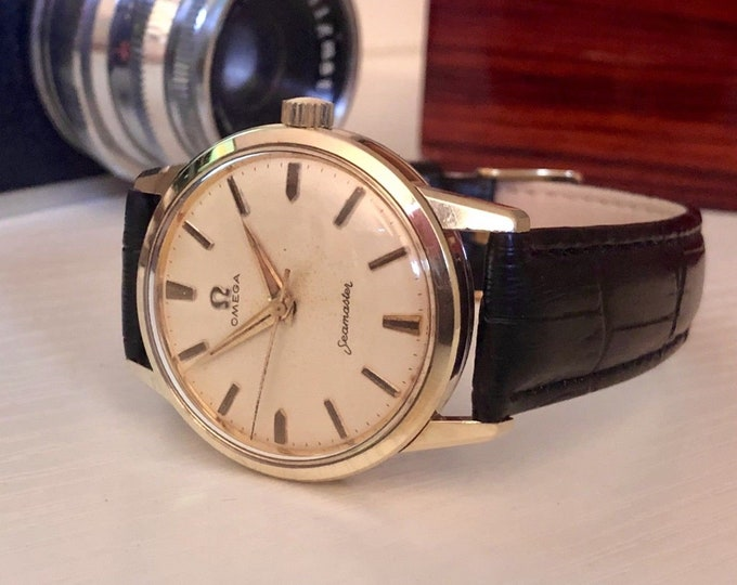 OMEGA Vintage Mens Seamaster 1960s Gold Mechanical Hand Winding CAL 285 Watch in very good used condition + Box