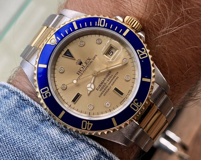 Rolex Submariner 16613 Serti Diamond Blue Dial Two Tone 18K Gold Steel 1989 Mens semi vintage watch Box Papers