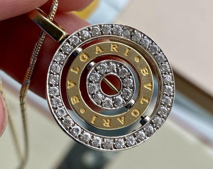 Bvlgari 18k Gold Diamond Cerchi Astrale Diamond White Gold Pendant Necklace + Box