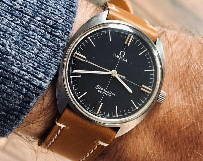 Omega Seamaster Cosmic Vintage 34mm Steel Mens Mechanical Black watch + New box