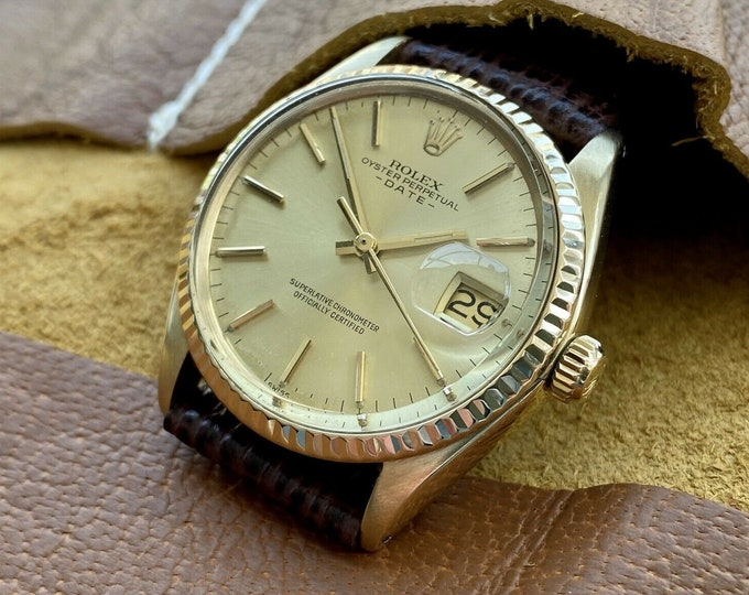 Rolex Oyster Date Perpetual 1503 18K 750 Yellow Solid Gold Automatic Men Vintage 1979 serviced watch
