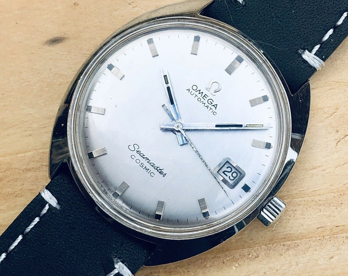 Omega Mens Seamaster Cosmic 1967 Stainless Steel second hand vintage Watch calibre 565 Mechanical 1967 automatic wristwatch + Box