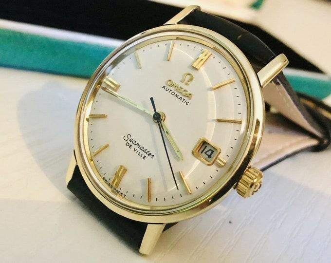 Omega Seamaster De Ville vintage watch cal 565 automatic 14K solid gold bezel 1960s Crazy Rich Asian's wristwatch + Original Box