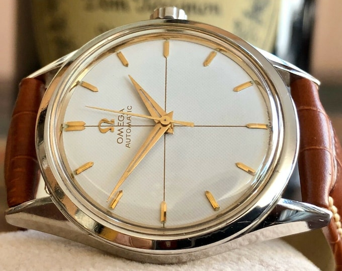 Omega Automatic Waffle dial Mens Vintage watch   Service Card March 2020 + New Box