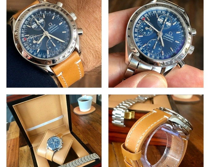 Omega Speedmaster Triple Date Blue Dial Men's Automatic Cal 1151 watch + Box