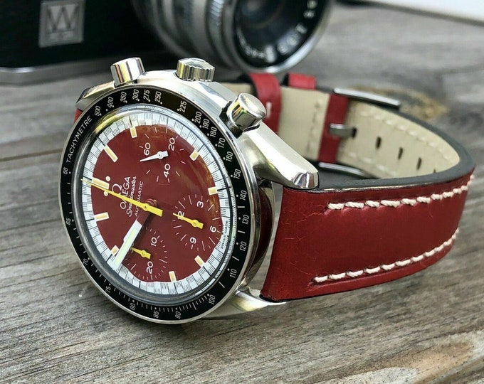 Omega Speedmaster Red Dial Men's chronograph reduced Automatic Michael Schumacher F1 Special edition 1998 3510.61.00 watch + Box