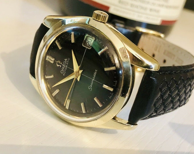 Omega Mens Seamaster 1960s Stainless second hand vintage Watch CAL 562 Automatic 1960s luxury new leather band strap + Box