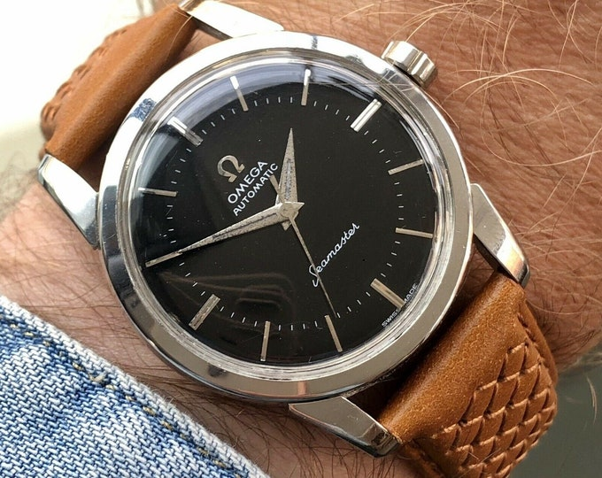 Omega Seamaster Black Dial Face Steel Mens Vintage 1956 serviced watch + Service card + New Box