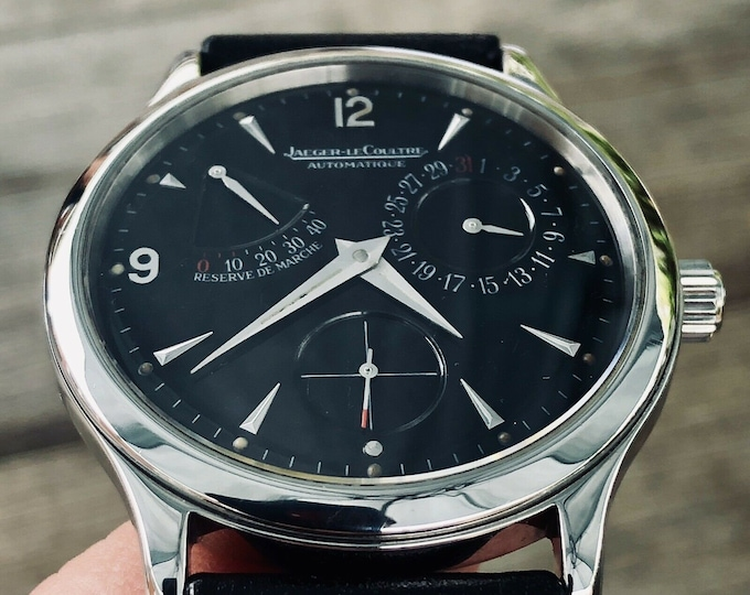 Jaeger Lecoultre Ultra Thin Master Control 1000 Steel Automatic 140.8.93.S Power Reserve 42hr Black Dial Mens 37mm watch + Box