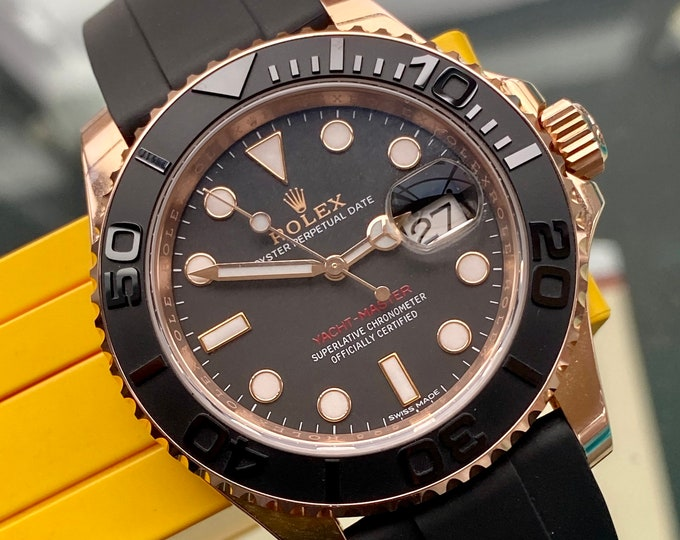 Rolex Yacht Master 40 Everose 116655 Oysterflex 40mm Mens Box Papers Rose Gold rubber Full Set watch