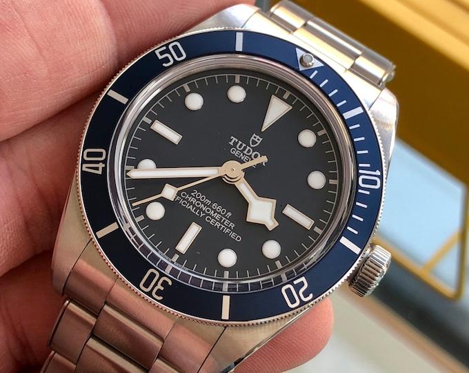 Tudor 2020 Black Bay Blue 58 39mm M79030B-001 Automatic Chronometer Steel Mens Full Set watch + Links + Leather
