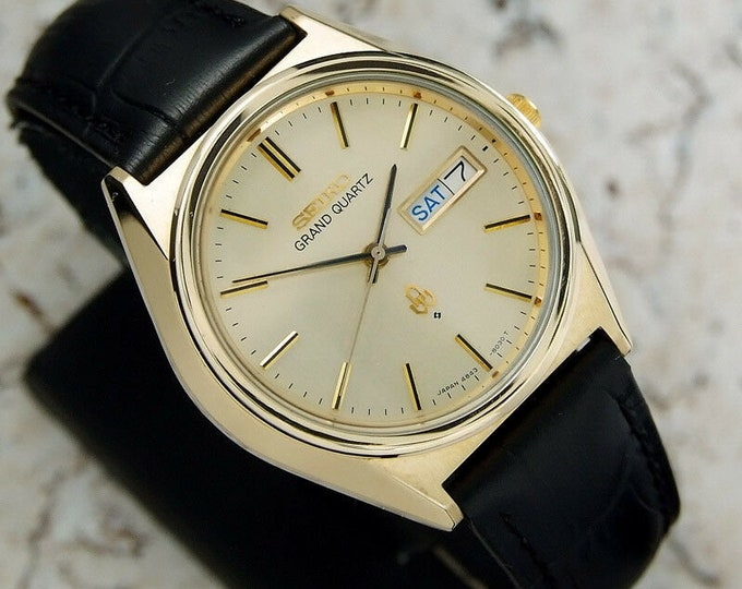 Authentic Seiko Grand Quartz Day Date Ref.4843-8041 Gold Dial Gold Plated Japan Quartz Mens Wrist Watch