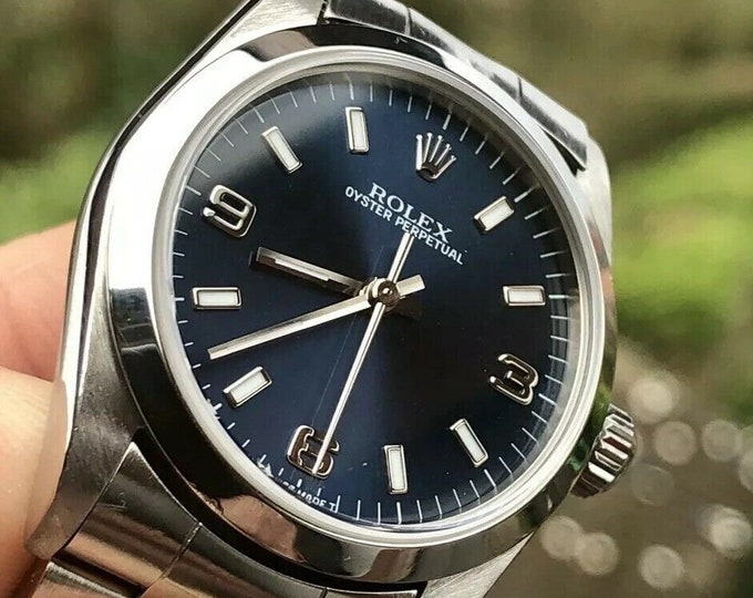 Rolex Oyster Perpetual 2000's Automatic Blue Dial midsize 31mm watch + Box | Cal 2230 | Steel Bracelet | Ref 77080 | womens bracelet