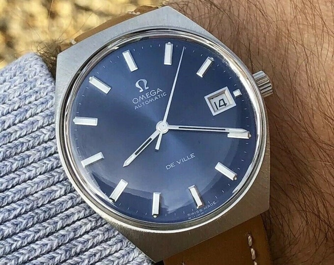Omega De Ville Automatic Stainless Steel Date blue dial vintage mens 1969 watch + Box cal 1002 stainless steel + Box