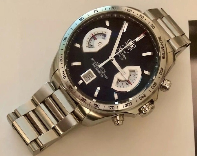 TAG Heuer Grand Carrera CAV511A Chronograph date Calibre 17 43mm case Men's racing Porsche heritage gents watch + Box