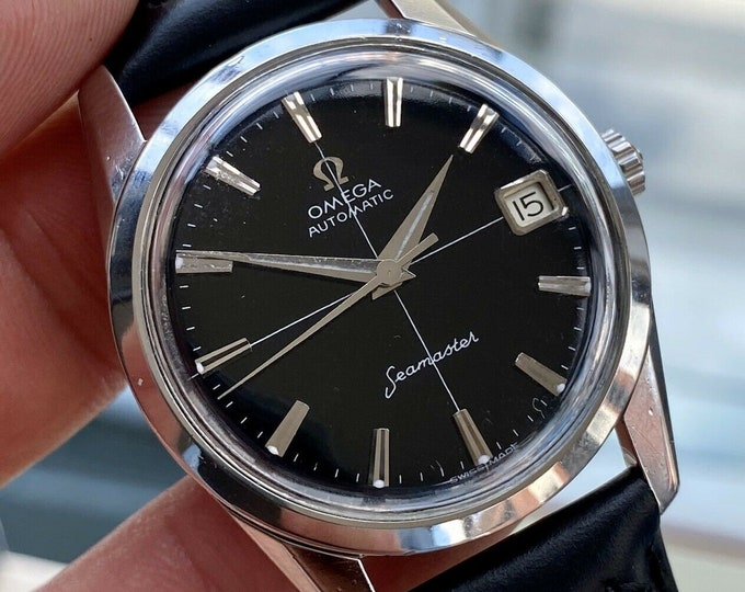 Omega Seamaster Leather Black Dial Crosshair Date Calendar Mens Vintage Automatic 1960s watch Serviced May 2021 watch