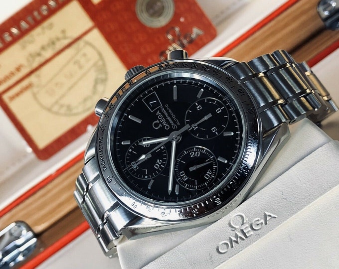 Omega Speedmaster Steel + Leather Black Dial Mens 38mm Automatic box 2005 watch