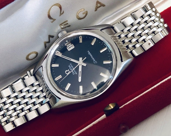 Omega Seamaster 1960s vintage Stainless Steel Automatic Cal 565 black dial men's serviced Jan 19 watch + box + 6 month warranty