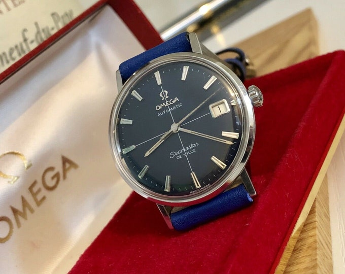 OMEGA Seamaster De Ville Mens vintage watch crosshair Blue Dial + Box 1960s used second hand + Omega Red retro Box