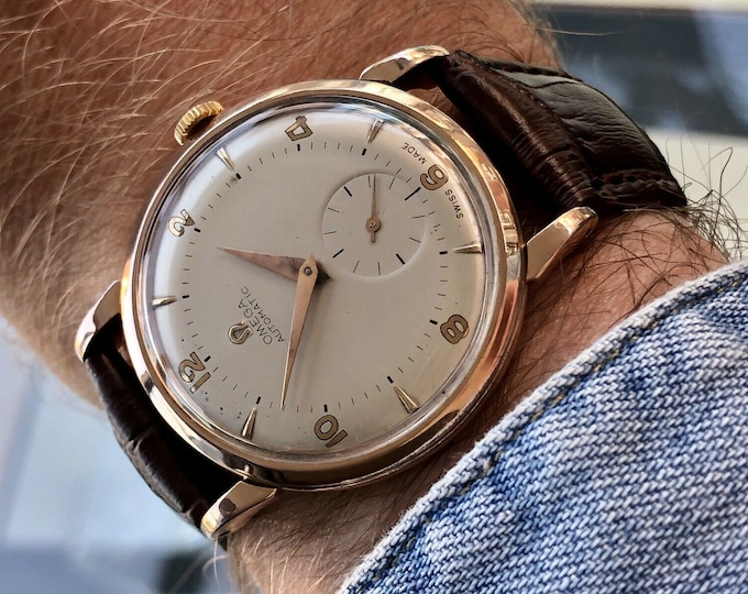 Omega vintage 14K Rose Gold Sub Seconds Dial Men's Automatic Dress 1950 watch + New Box