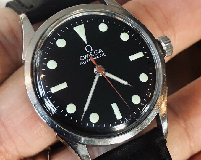 Omega Automatic 354 Military vintage black dial mens watch serviced January 2020 + New Box