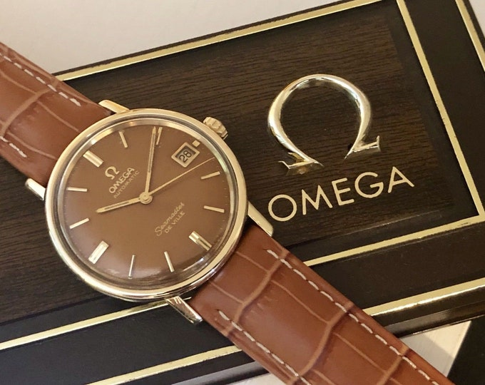 Omega Seamaster De Ville vintage watch cal 565 Mechanical Automatic 14K Gold Capped Date 1960s rare tropical brown dial +Box