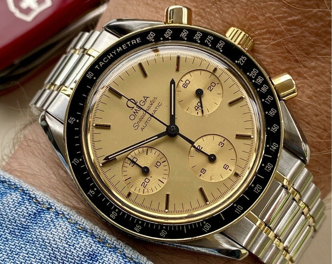 Omega Speedmaster Reduced Men's 18K Gold & Steel Two Tone Automatic 1109 1993 Serviced1 watch + Box