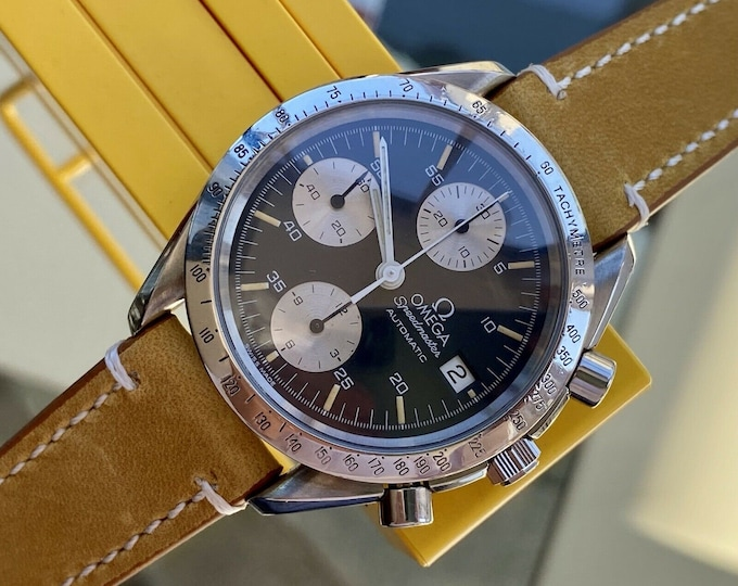 Omega Speedmaster Black Reverse Panda Dial Men's reduced Automatic 1990s serviced December 2020 brown leather watch + Box