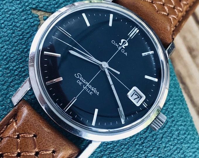 Omega Mens Seamaster De Ville Black Dial Crosshair Black Dial 1960s Mens 34mm vintage watch