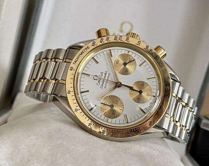 Omega 1988 Speedmaster Men's 18K Gold & Steel Automatic Caliber 1140 46 Jewels vintage watch serviced October 2020 + Box