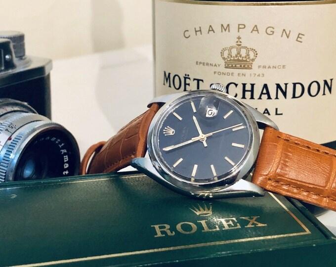 Rolex 34mm Ref 6694 Mechanical Black Dial Face vintage 1960s gents mens watch + Box