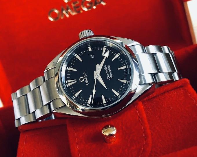 Omega Lady Seamaster Aqua Terra Date Black dial steel Quartz 28mm dial stainless steel womens watch + Box